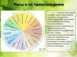 Ра́са— система популяций человека, характеризующаяся сходством по комплексу