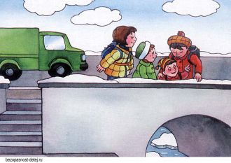Картинка про тонкий речной лёд и его опасность. Надо ходить по мосту