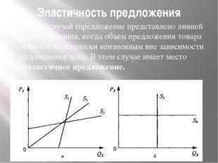 Эластичность предложения Первый случай (предложение представлено линией S1,)
