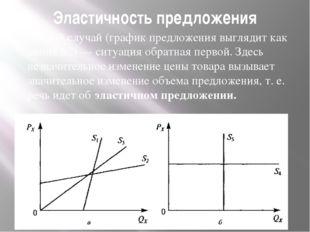Эластичность предложения Второй случай (график предложения выглядит как линия