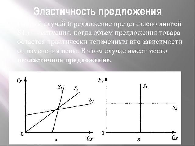 Эластичность предложения Первый случай (предложение представлено линией S1,)...