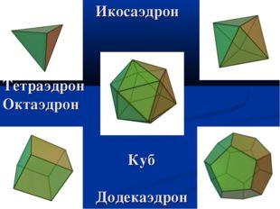 Икосаэдрон Тетраэдрон Октаэдрон Куб Додекаэдрон
