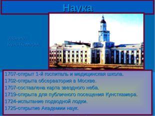 1707-открыт 1-й госпиталь и медицинская школа. 1702-открыта обсерватория в Мо