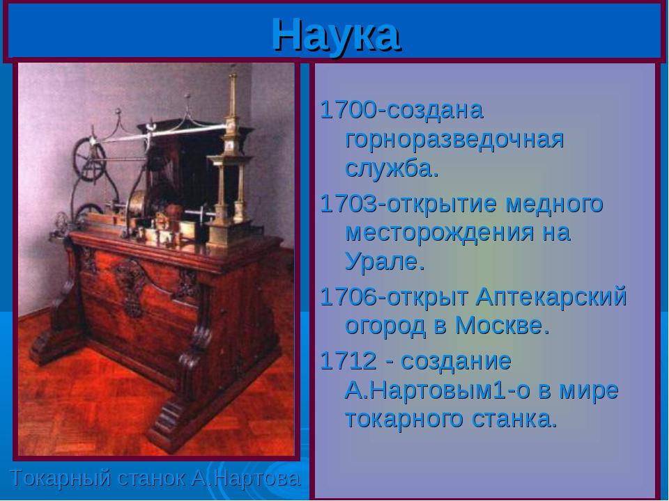 1700-создана горноразведочная служба. 1703-открытие медного месторождения на...
