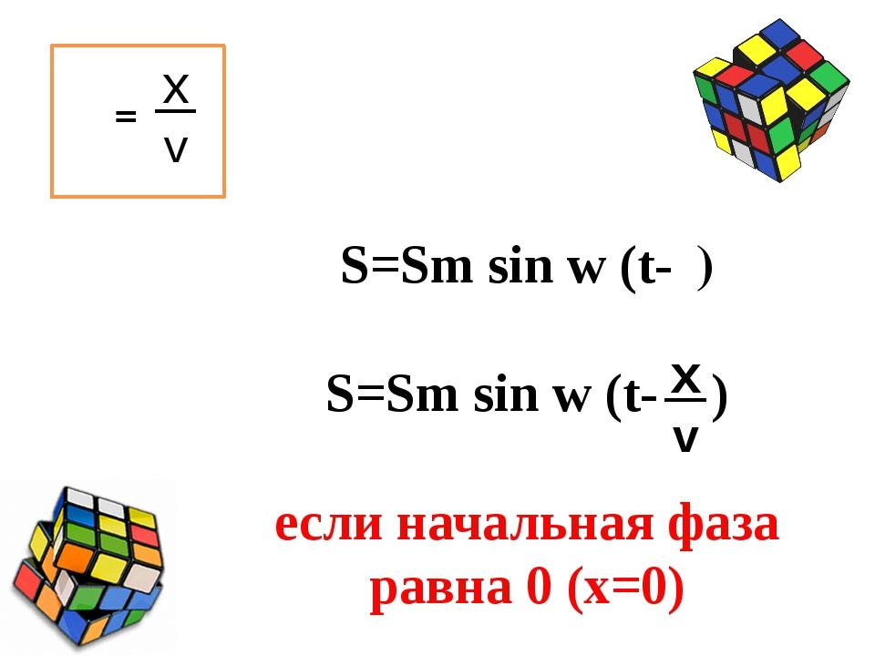 τ= S=Sm sin w (t-τ) S=Sm sin w (t- ) если начальная фаза равна 0 (x=0) v x v x
