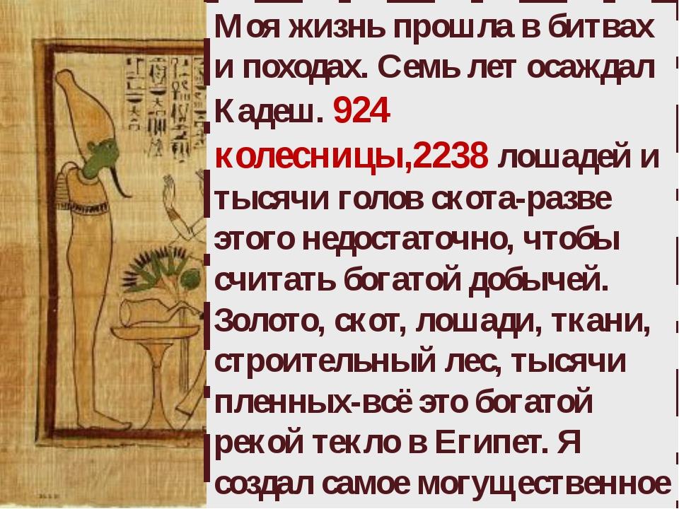Моя жизнь прошла в битвах и походах. Семь лет осаждал Кадеш. 924 колесницы,22...