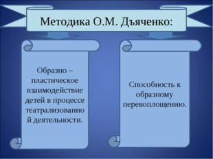 Методика О.М. Дъяченко: Образно – пластическое взаимодействие детей в процесс