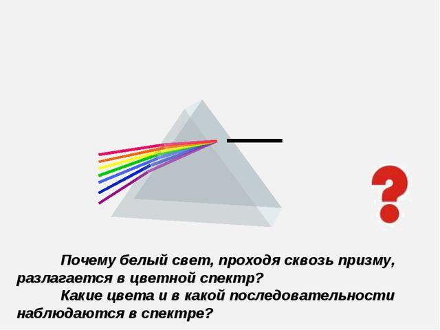 Почему белый свет, проходя сквозь призму, разлагается в цветной спектр? Как...