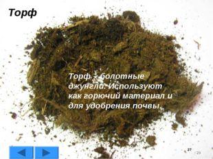 * Торф Торф – болотные джунгли. Используют как горючий материал и для удобрен