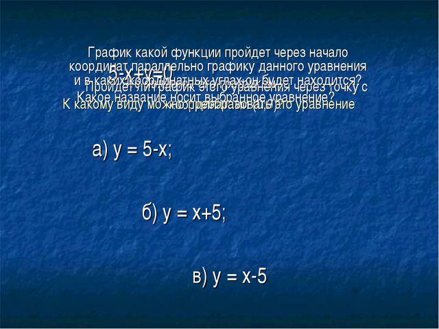 5-х+у=0 а) у = 5-х; б) у = х+5; в) у = х-5 Какое название носит выбранное ур...