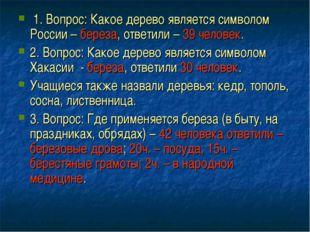 1. Вопрос: Какое дерево является символом России – береза, ответили – 39 чел