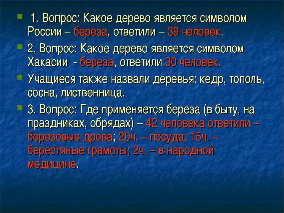 1. Вопрос: Какое дерево является символом России – береза, ответили – 39 чел...