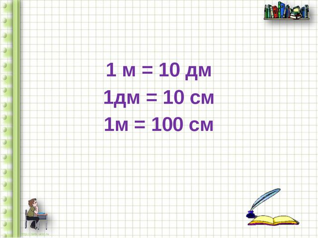 1 м = 10 дм 1дм = 10 см 1м = 100 см