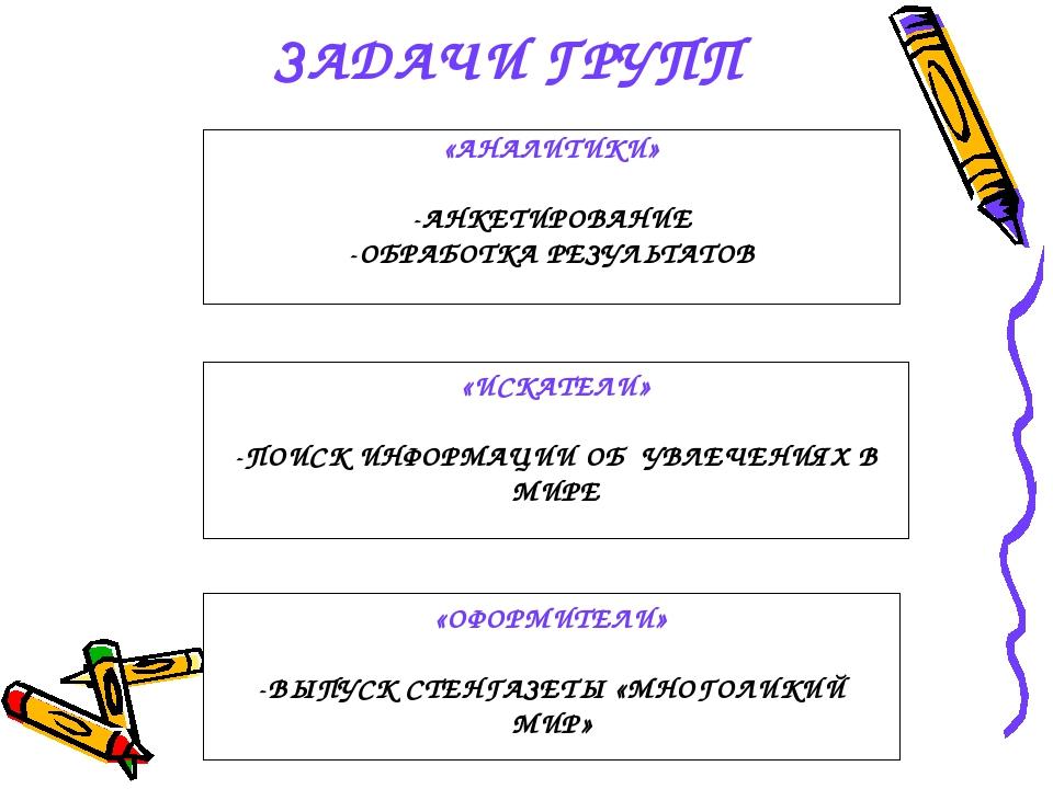 ЗАДАЧИ ГРУПП «АНАЛИТИКИ» -АНКЕТИРОВАНИЕ -ОБРАБОТКА РЕЗУЛЬТАТОВ «ОФОРМИТЕЛИ» -...