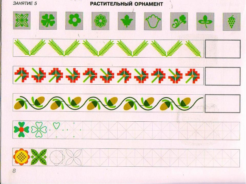 Узор из растительных элементов в полосе