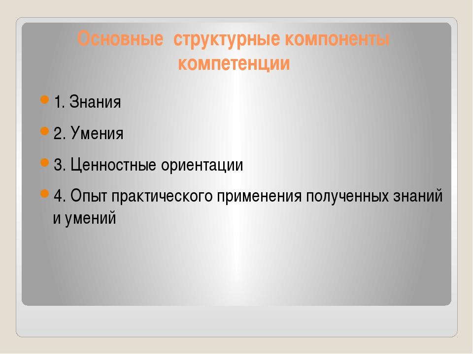 Основные структурные компоненты компетенции 1. Знания 2. Умения 3. Ценностные...