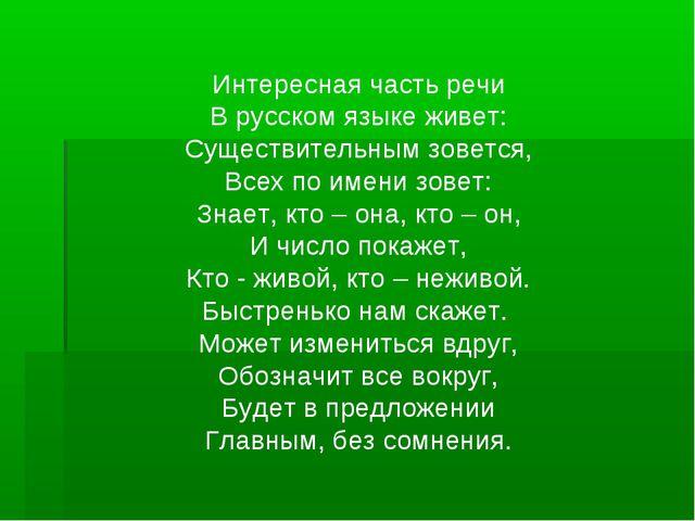 Интересная часть речи В русском языке живет: Существительным зовется, Всех по...