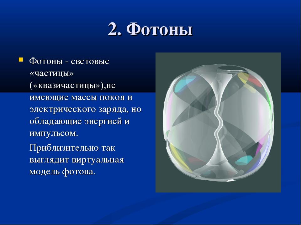 2. Фотоны Фотоны - световые «частицы» («квазичастицы»),не имеющие массы покоя...