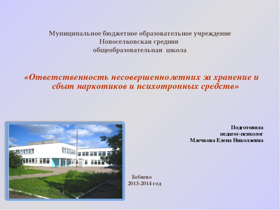 Муниципальное бюджетное образовательное учреждение Новоселковская средняя общ...