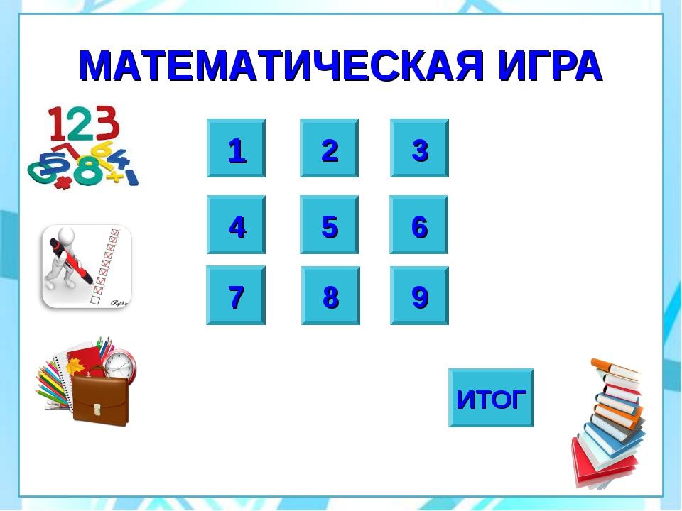 МАТЕМАТИЧЕСКАЯ ИГРА 2 1 8 9 3 4 5 6 7 ИТОГ
