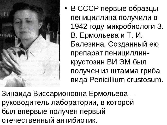 В СССР первые образцы пенициллина получили в 1942 году микробиологи З. В. Ерм...