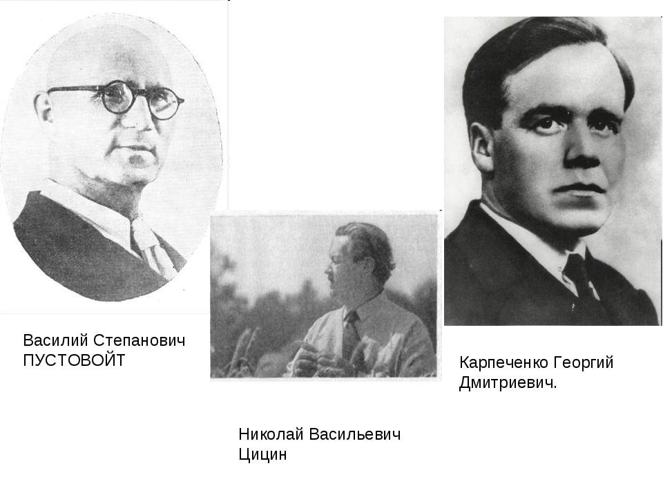 Василий Степанович ПУСТОВОЙТ Карпеченко Георгий Дмитриевич. Николай Васильеви...