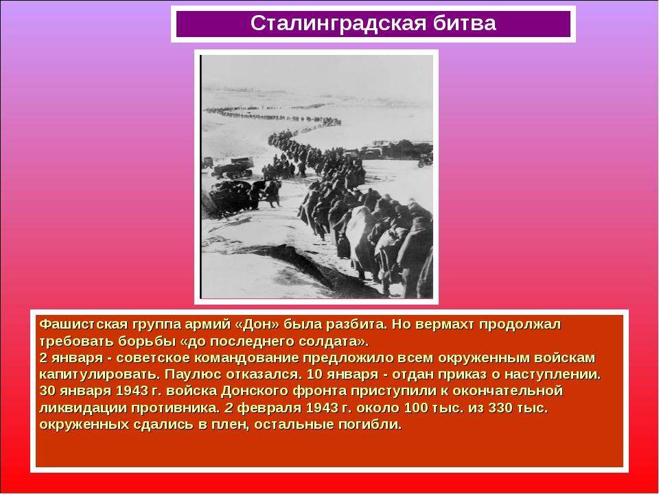 Фашистская группа армий «Дон» была разбита. Но вермахт продолжал требовать бо...