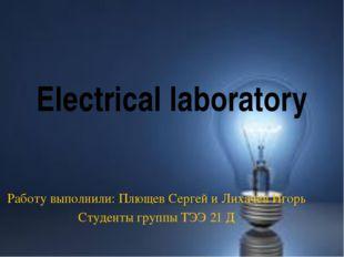 Electrical laboratory Работу выполнили: Плющев Сергей и Лихачёв Игорь Студент