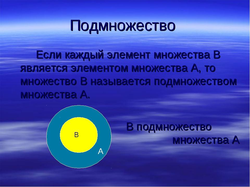 Подмножество Если каждый элемент множества В является элементом множества А...