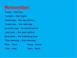 Remember: Today – that day Tonight – that night Yesterday – the day before T