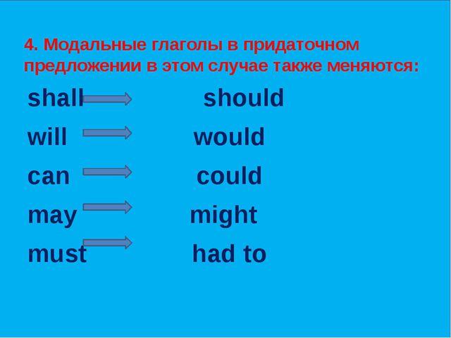 4. Модальные глаголы в придаточном предложении в этом случае также меняются:...