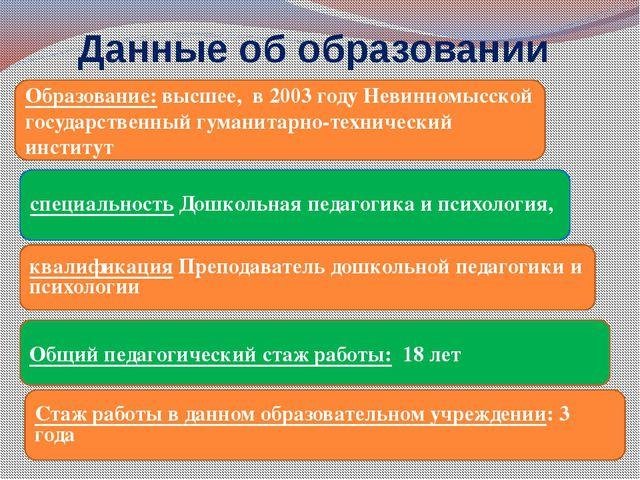 Данные об образовании Образование: высшее, в 2003 году Невинномысской государ...