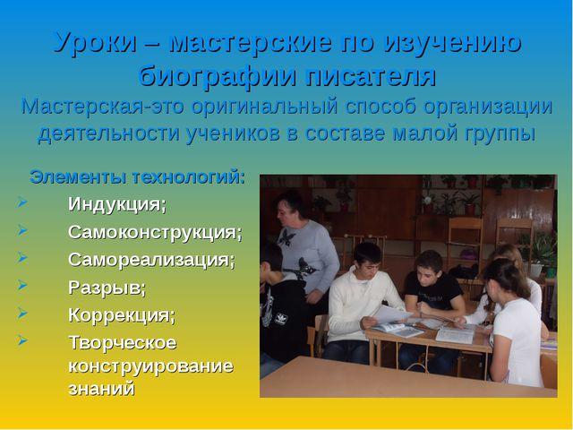 Уроки – мастерские по изучению биографии писателя Мастерская-это оригинальный...