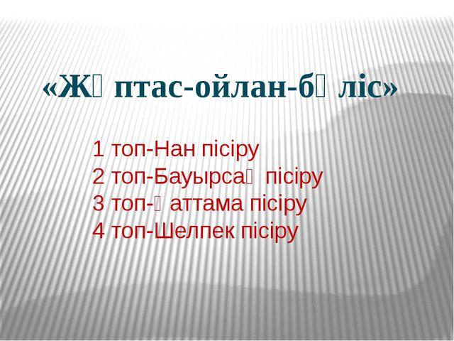 «Жұптас-ойлан-бөліс» 1 топ-Нан пісіру 2 топ-Бауырсақ пісіру 3 топ-Қаттама пі...