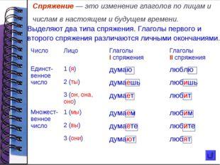 Спряжение — это изменение глаголов по лицам и числам в настоящем и будущем вр