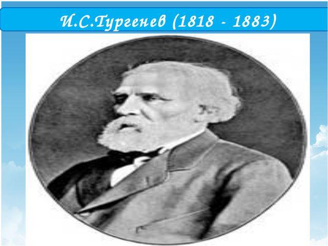 И.С.Тургенев (1818 - 1883) .