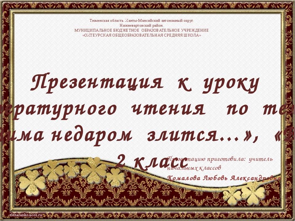 Презентация к уроку литературного чтения по теме : Ф. Тютчев «Зима недаром зл...