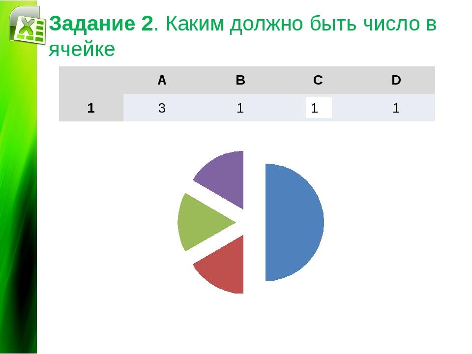 Задание 2. Каким должно быть число в ячейке 1 Диаграммы и графики A B C D 1 3...
