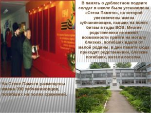 В память о доблестном подвиге солдат в школе была установлена «Стена Памяти»