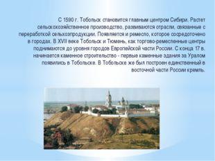 С 1590 г. Тобольск становится главным центром Сибири. Растет сельскохозяйств