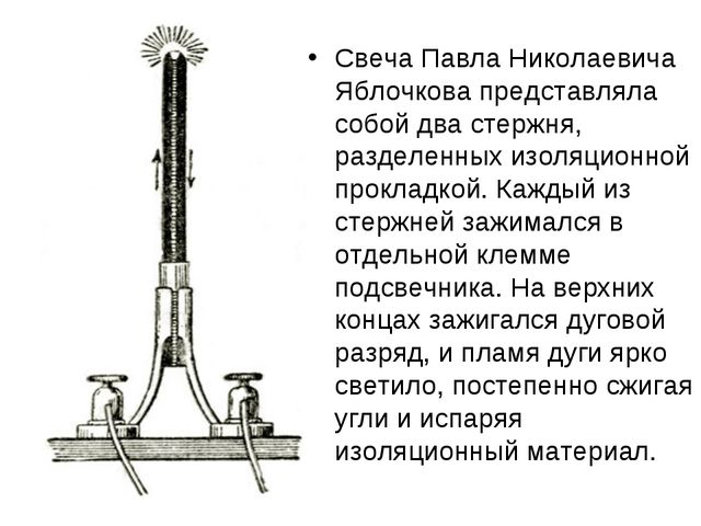 Свеча Павла Николаевича Яблочкова представляла собой два стержня, разделенных...