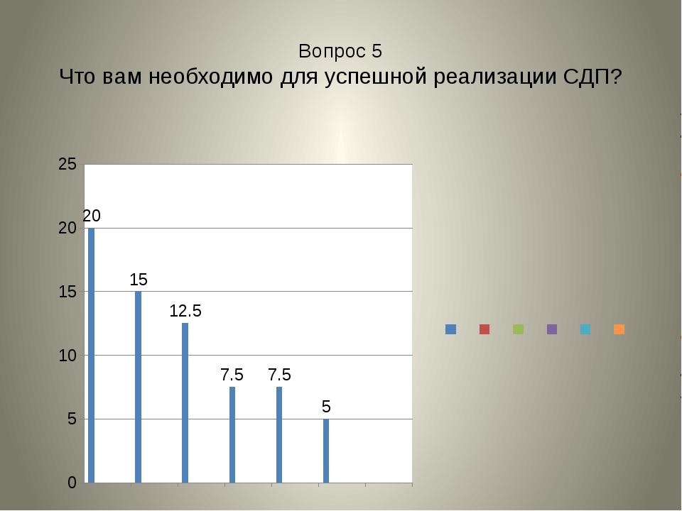 Вопрос 5 Что вам необходимо для успешной реализации СДП?