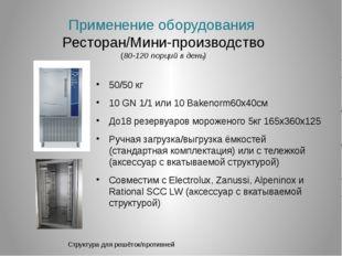 Применение оборудования Ресторан/Мини-производство (80-120 порций в день) 50/
