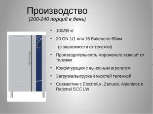 Производство (200-240 порций в день) 100/85 кг 20 GN 1/1 или 16 Bakenorm 80мм