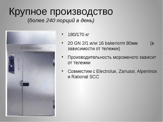 Крупное производство (более 240 порций в день) 180/170 кг 20 GN 2/1 или 16 ba...