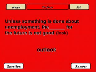 Prefixes Unless something is done about unemployment, the______ for the futur