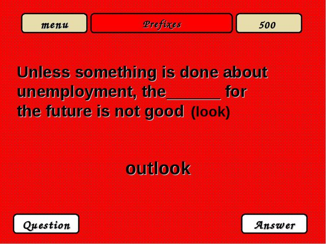 Prefixes Unless something is done about unemployment, the______ for the futur...