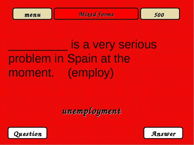 Mixed forms _________ is a very serious problem in Spain at the moment. (empl...