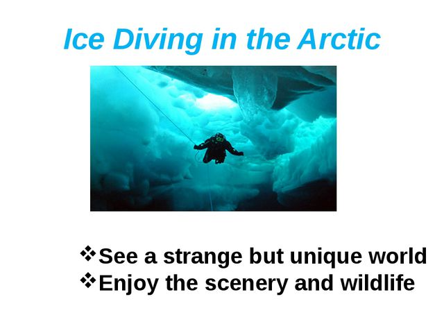 Ice Diving in the Arctic See a strange but unique world Enjoy the scenery and...