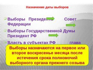 Назначение даты выборов Выборы Президента Совет Федерации Выборы Государствен